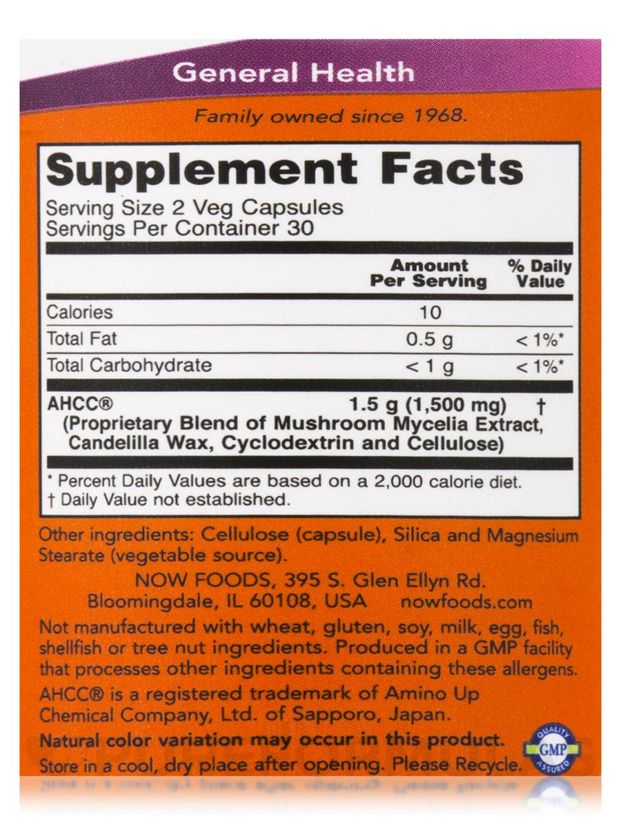 AHCC® Extra Strength 750 mg - 60 Veg Capsules