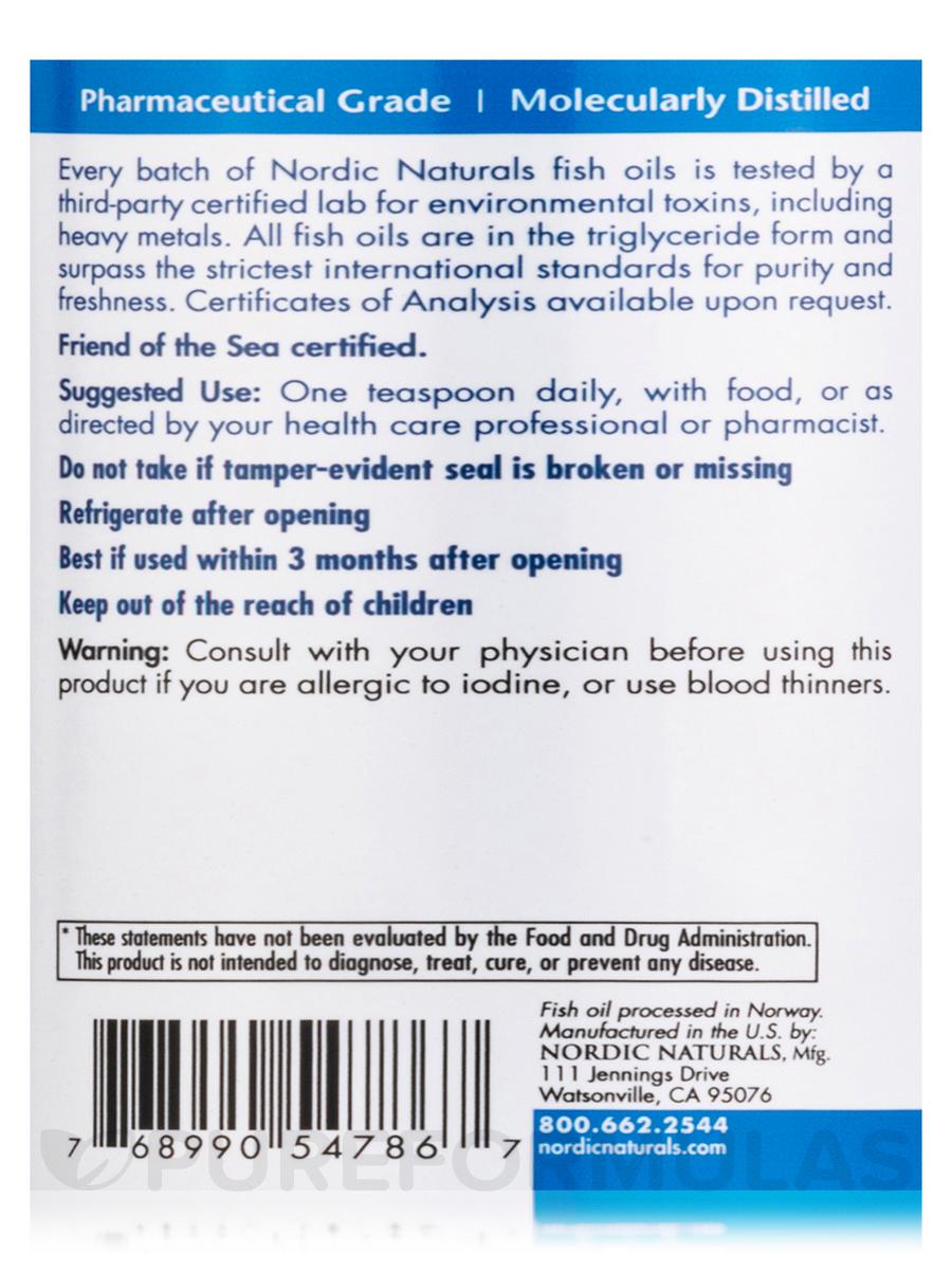 Arctic Cod Liver Oil Orange Flavor 16 Fl Oz 473 Ml Nordic Softgels Lemon