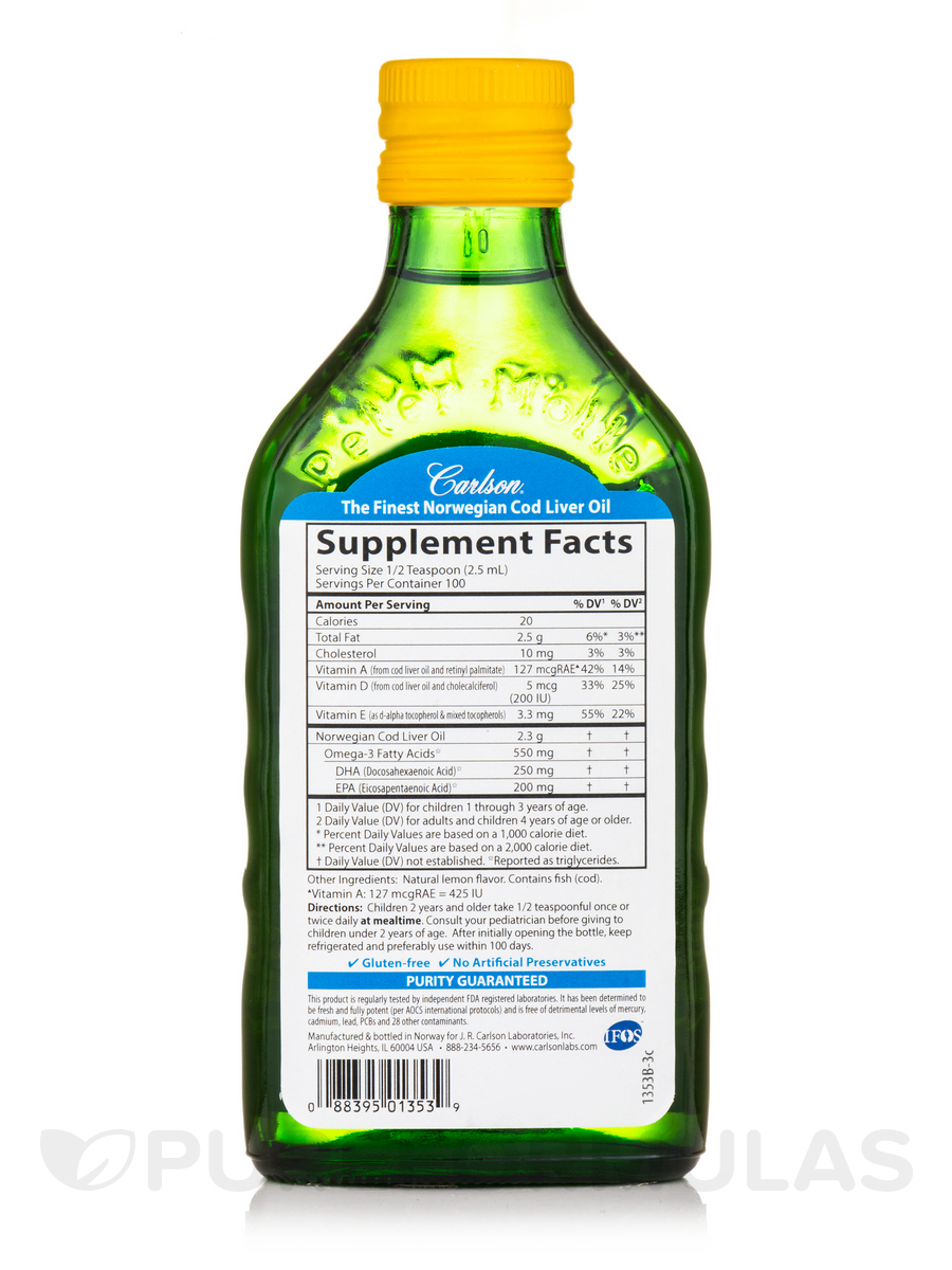 Carlson for kids norwegian cod liver oil lemon flavor 8 for Carlson s fish oil lemon