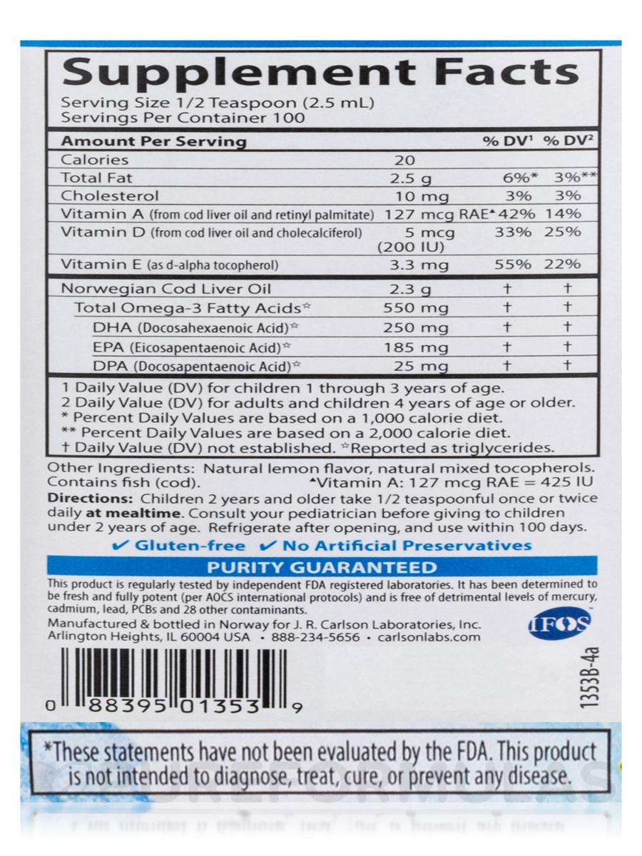 for kids norwegian cod liver oil lemon flavor 8 4 fl oz 250 ml