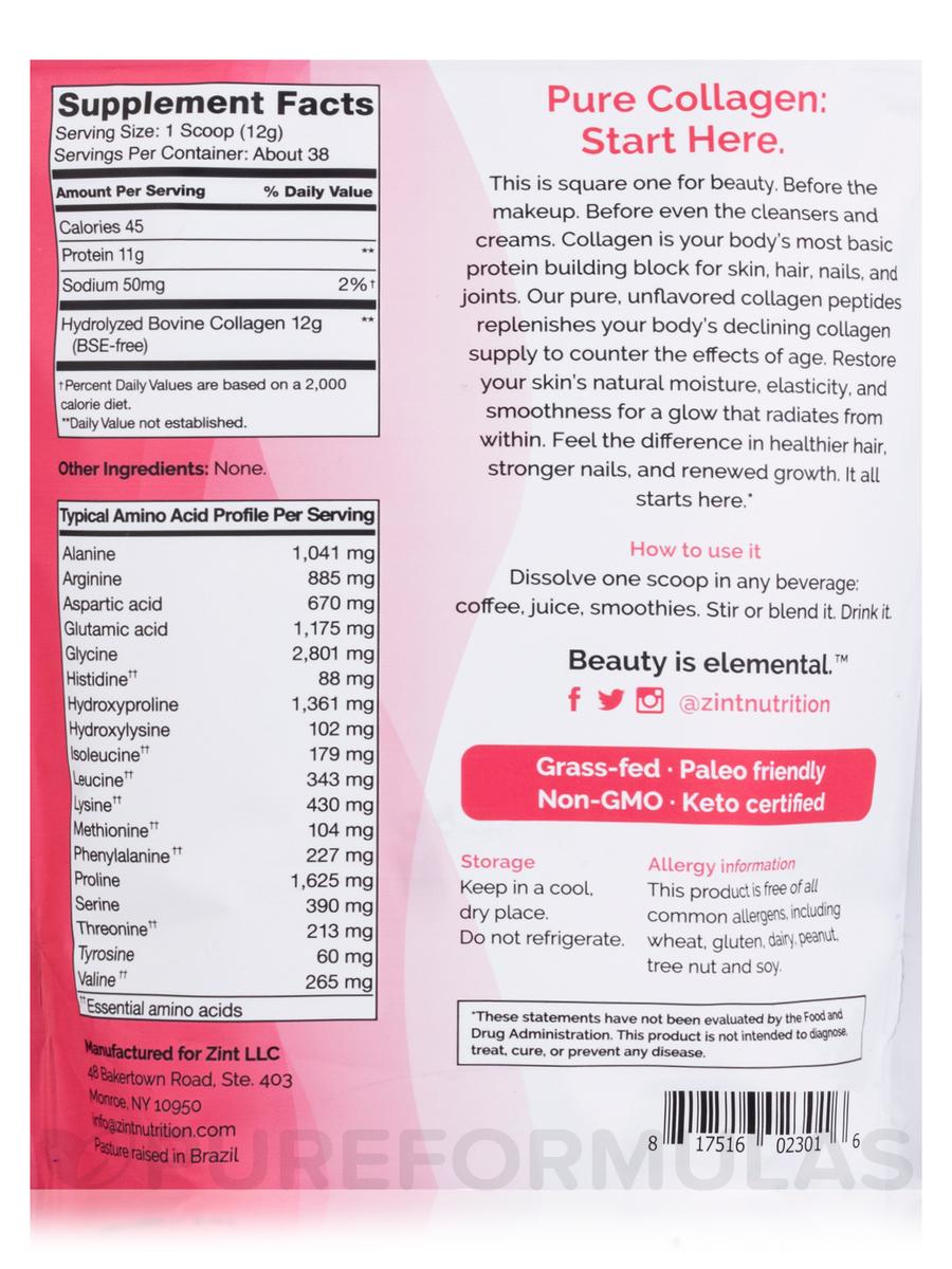 Grass-Fed Beef Collagen (Hydrolyzed Collagen Types I & III) - 16 oz (454  Grams)