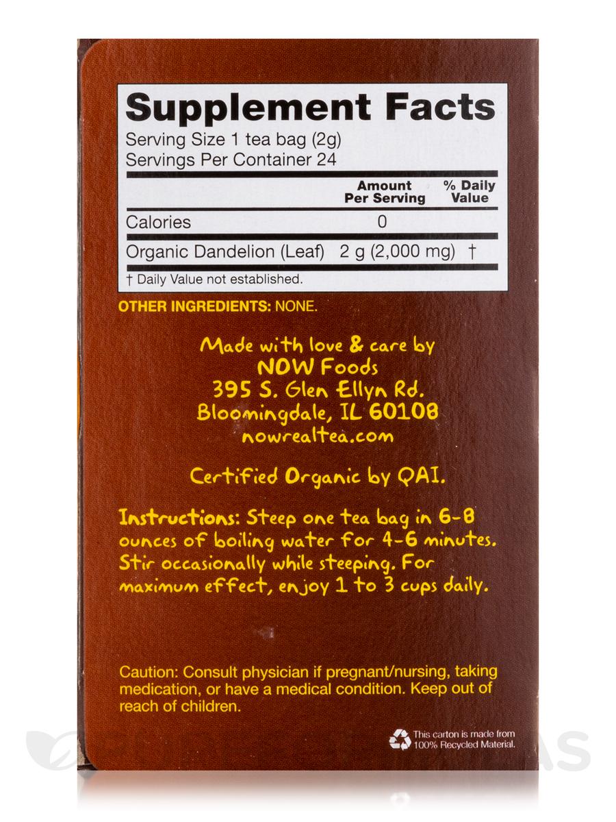 NOW® Real Tea - Dandelion Cleansing Herbal Tea Bags - Box of 24 Packets