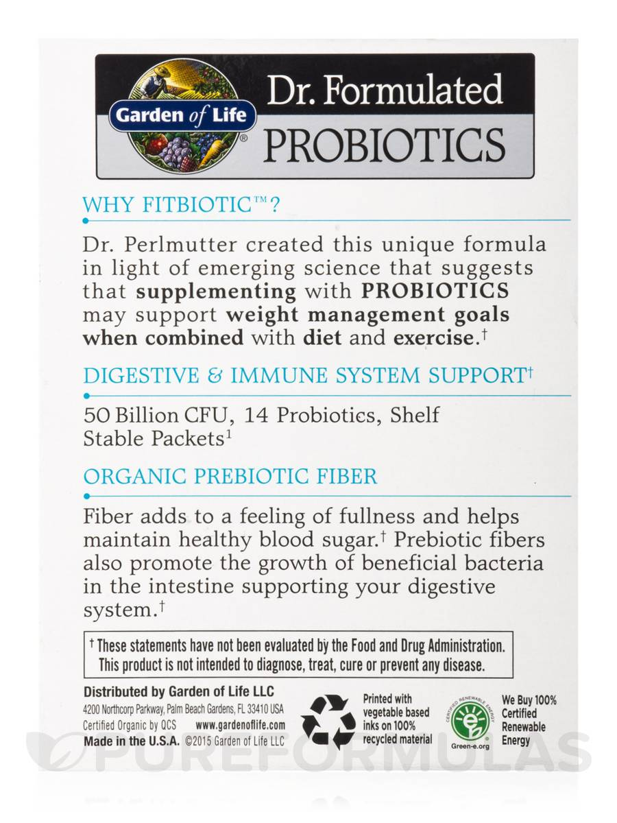 Dr Formulated Probiotics Fitbiotic 20 Packets Oz 4 2 Grams Each