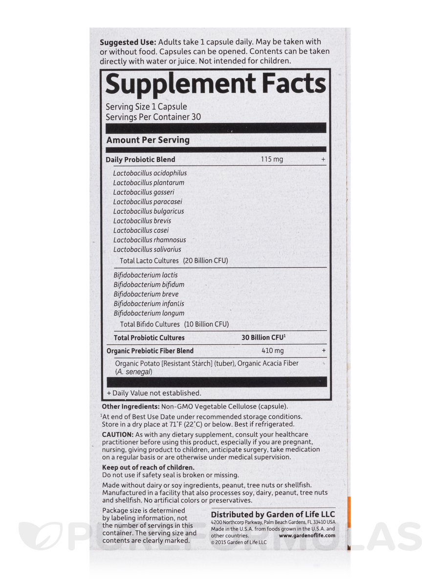 Formulated Probiotics Once Daily 30 Vegetarian Capsules