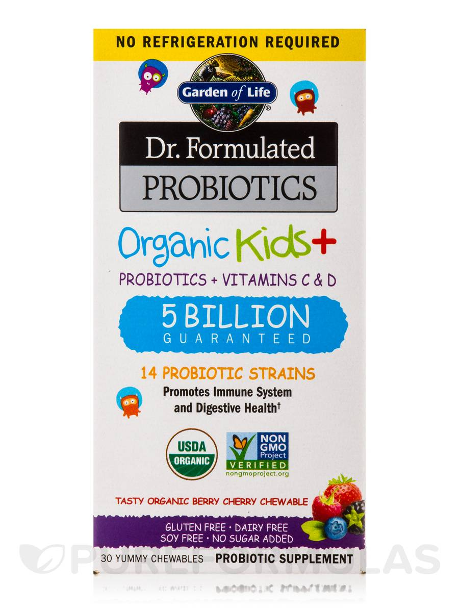 Dr Formulated Probiotics Organic Kids 5 Billion Cfu Berry Cherry Flavor Shelf Stable 30