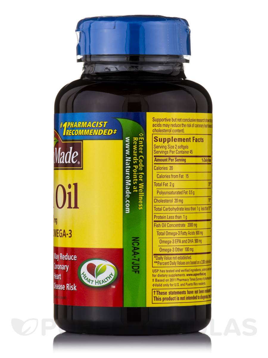 Fish oil 1000 mg omega 3 300 mg 90 softgels for Fish oil 1000 mg