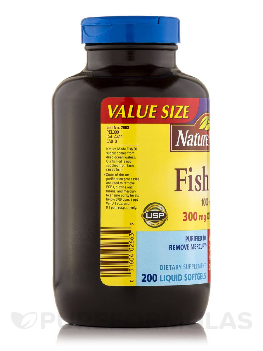 Fish oil 1000 mg omega 3 300 mg 200 softgels for Fish oil 1000 mg