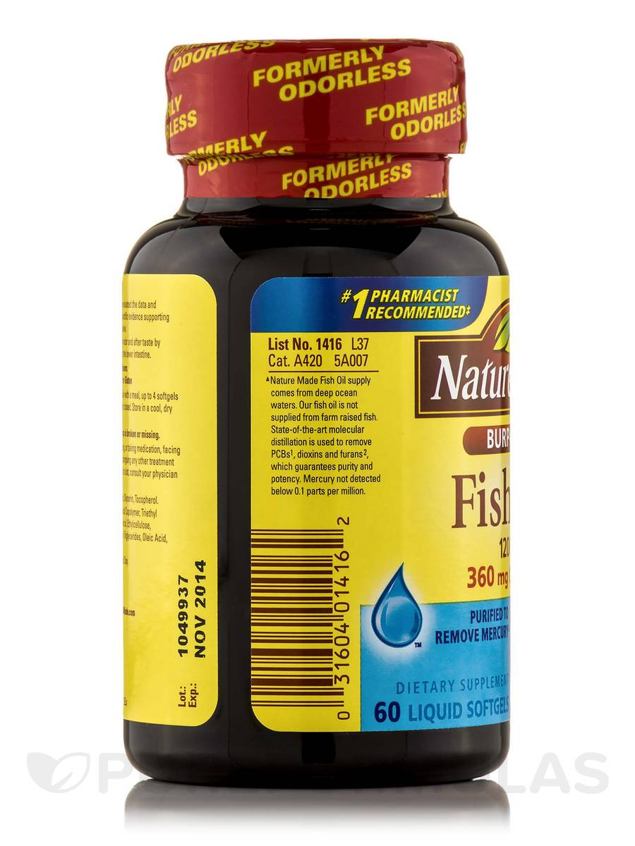 Fish oil 1200 mg omega 3 360 mg burp less 60 softgels for Nature made fish oil 1200 mg 360 mg omega 3