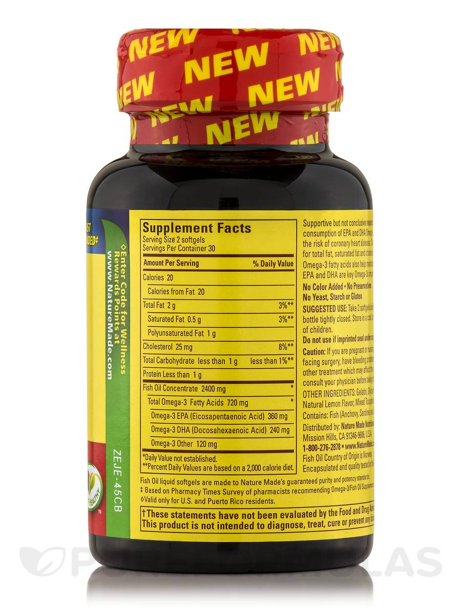 Fish Oil 1200 Mg Omega 3 360 Mg Lemon 60 Softgels