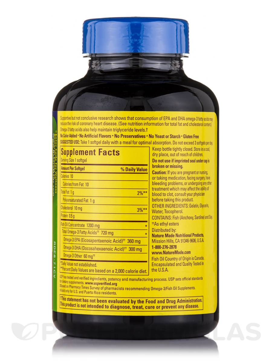 Fish oil 1200 mg omega 3 720 mg 120 softgels for Fish with omega 3