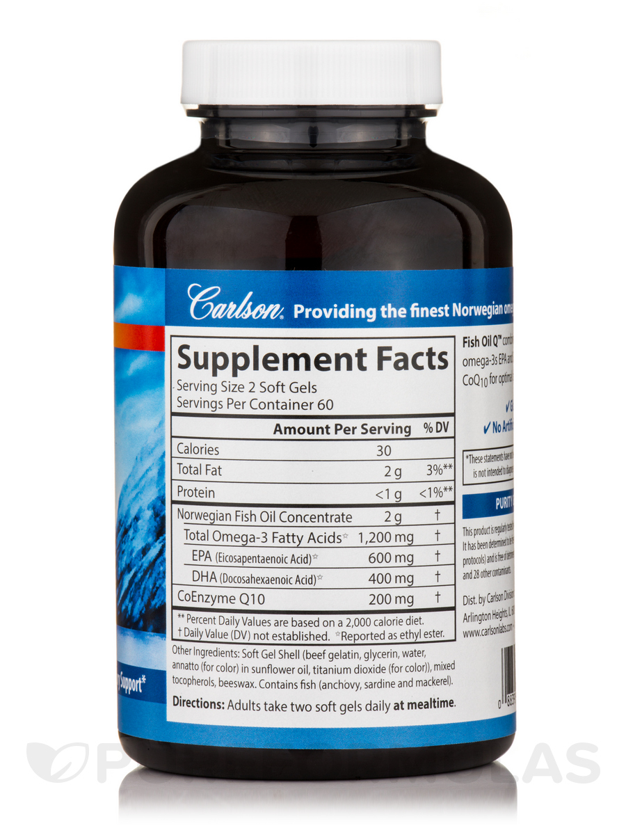 Fish oil q coenzyme q10 100 mg 120 soft gels for Fish oil for add
