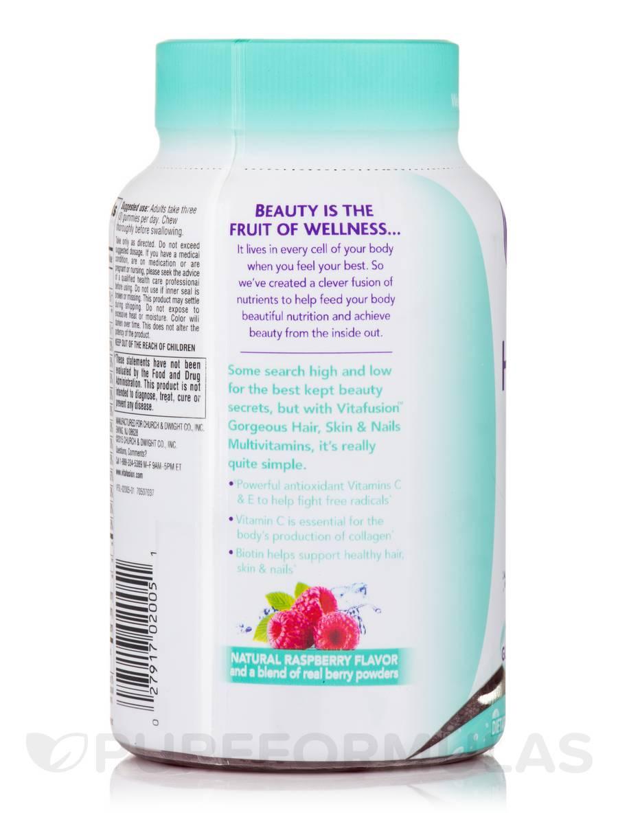 Gorgeous Hair Skin Nails Multivitamin Natural Raspberry Flavor 100 Gummies