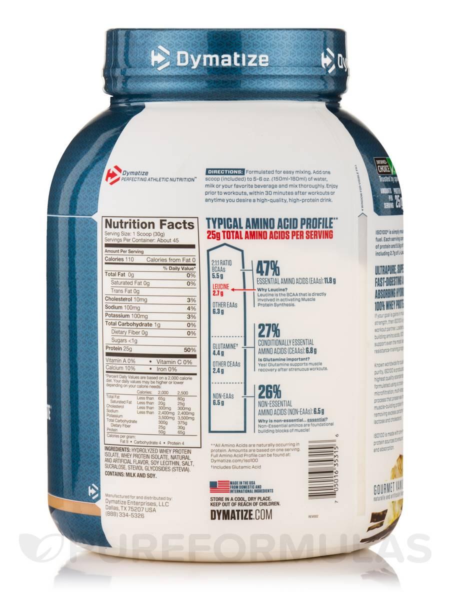 ISO-100® Hydrolyzed 100% Whey Protein Isolate, Gourmet Vanilla Flavor - 48  oz (1360.78 Grams)