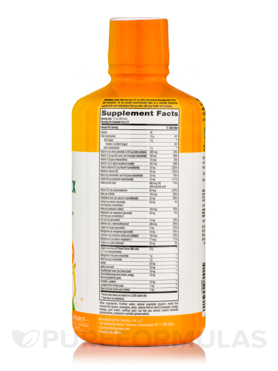 Liquid Multivitamin Mineral Complex Mango Flavor 32 Fl Oz 1 Vegetable Glycerine 125 Ml Qt 944