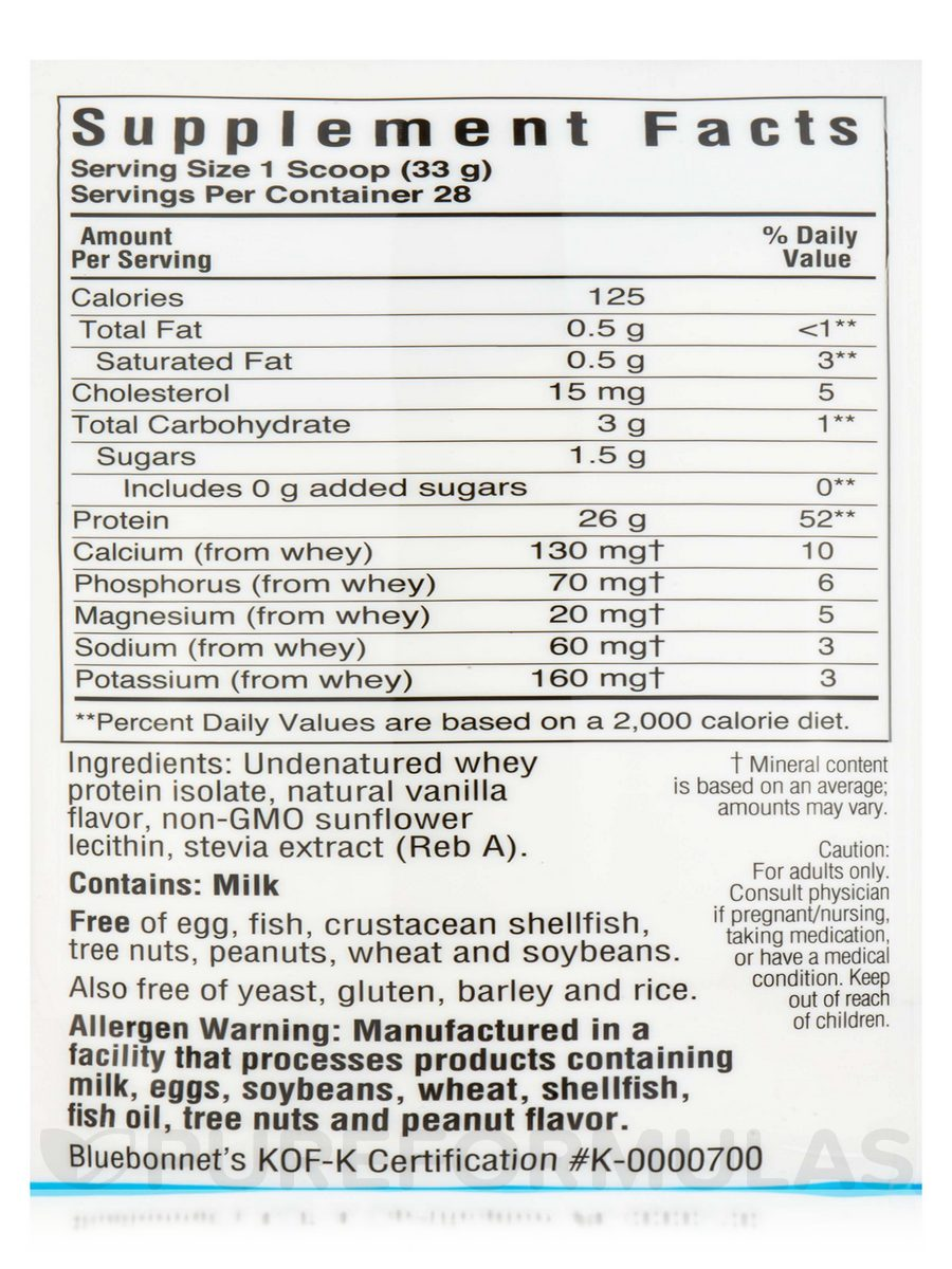100% Natural Whey Protein Isolate Powder, French Vanilla Flavor 2 lbs (924 Grams)