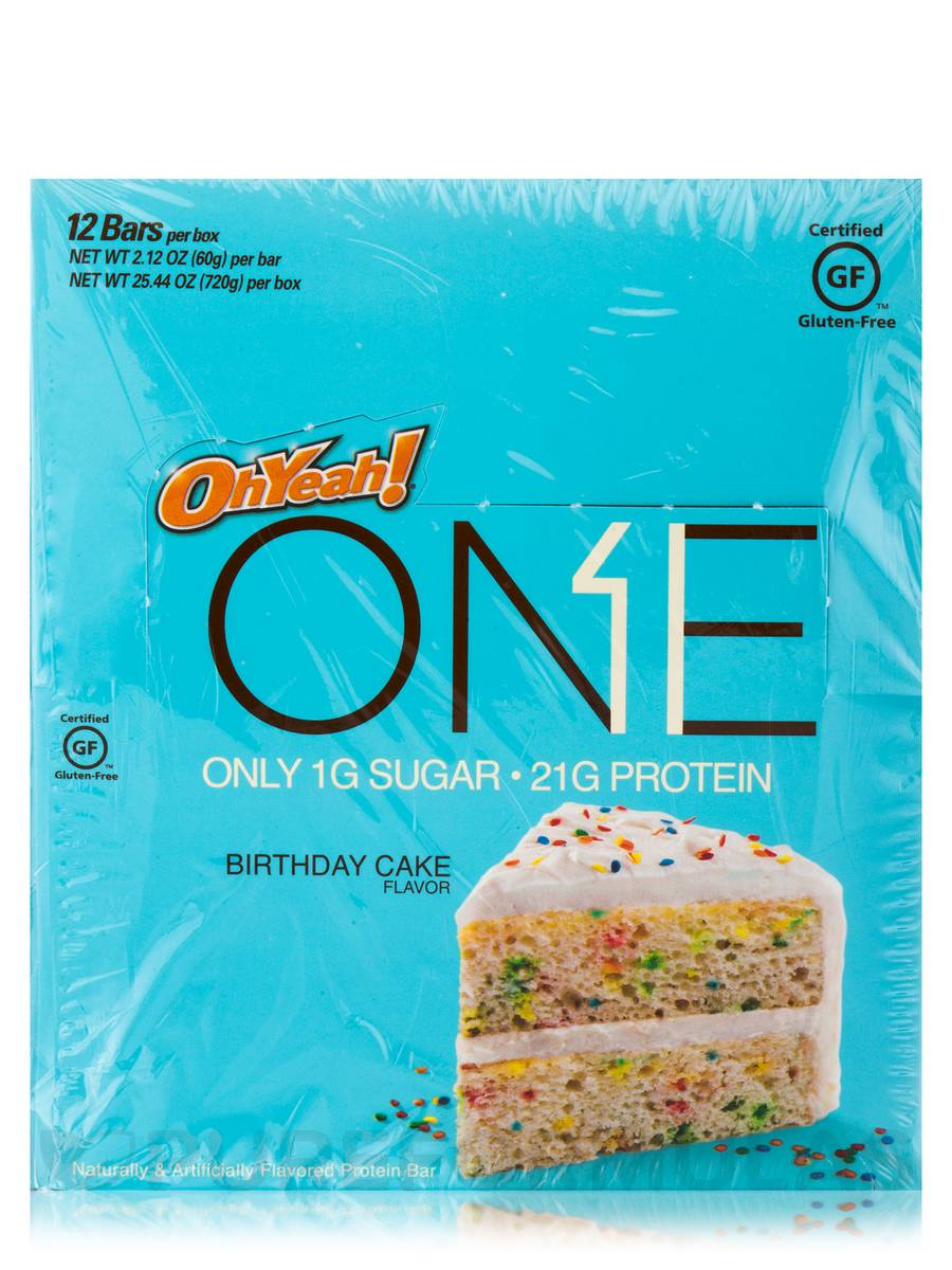 Oh Yeah One Bar Birthday Cake Flavor Box Of 12 Bars By Iss Research Extra1
