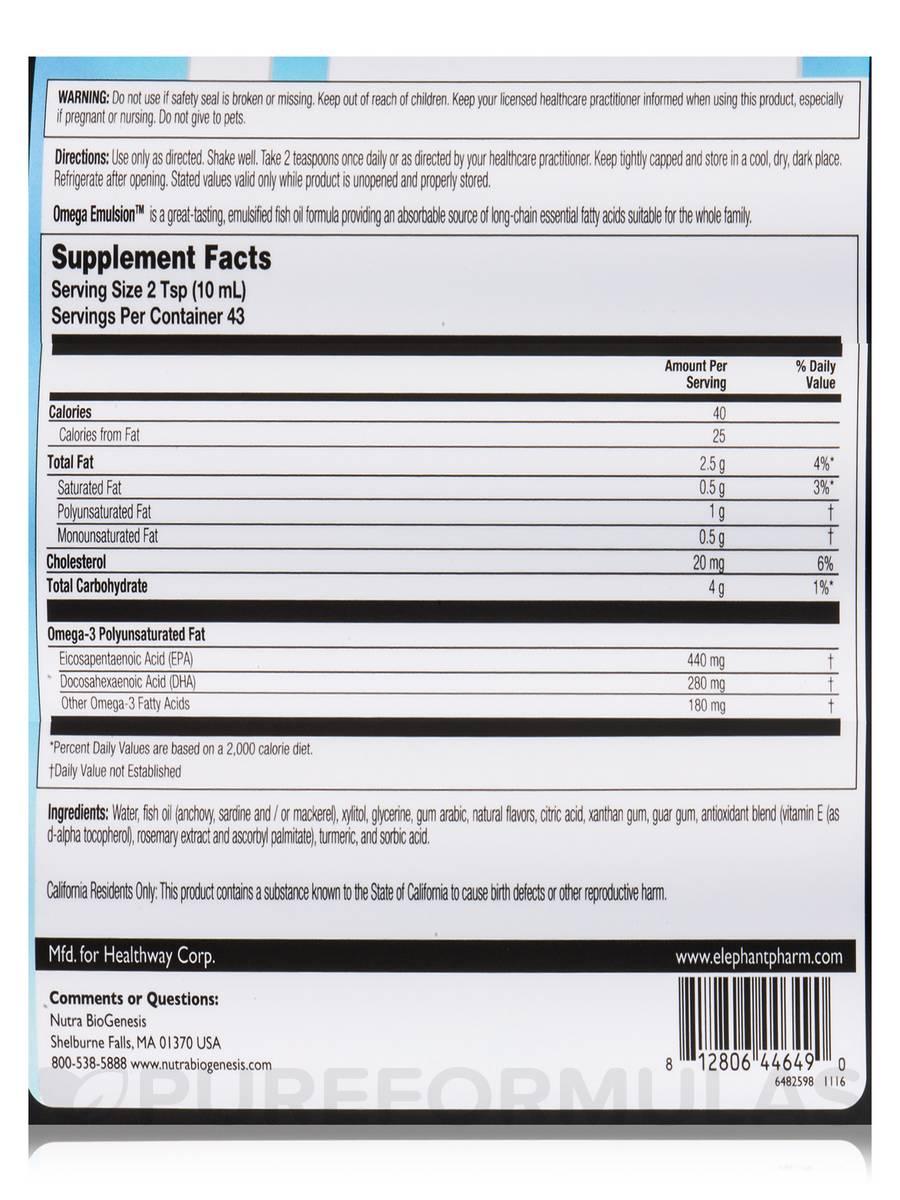 Omega Emulsion™ Sweet Lemon, Natural Flavor - 14 5 fl  oz (428 ml)