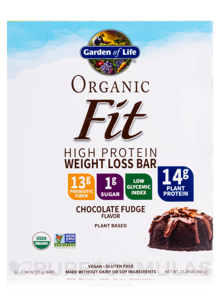 garden of life weight loss. Organic Fit High Protein Weight Loss Bar, Chocolate Fudge - Box Of 12 Bars (1.9 Oz / 55 Grams Garden Life E