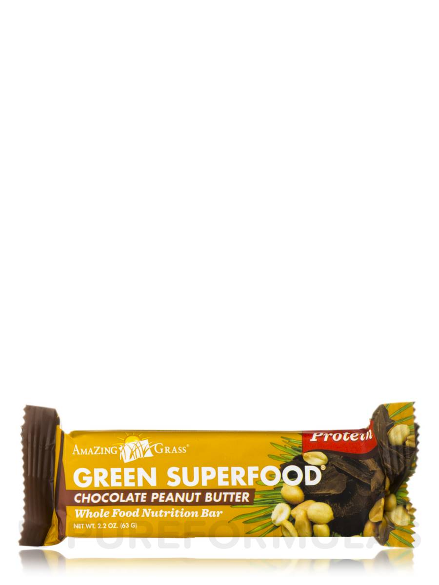 Green superfood chocolate peanut butter protein bar box for Superfood bar