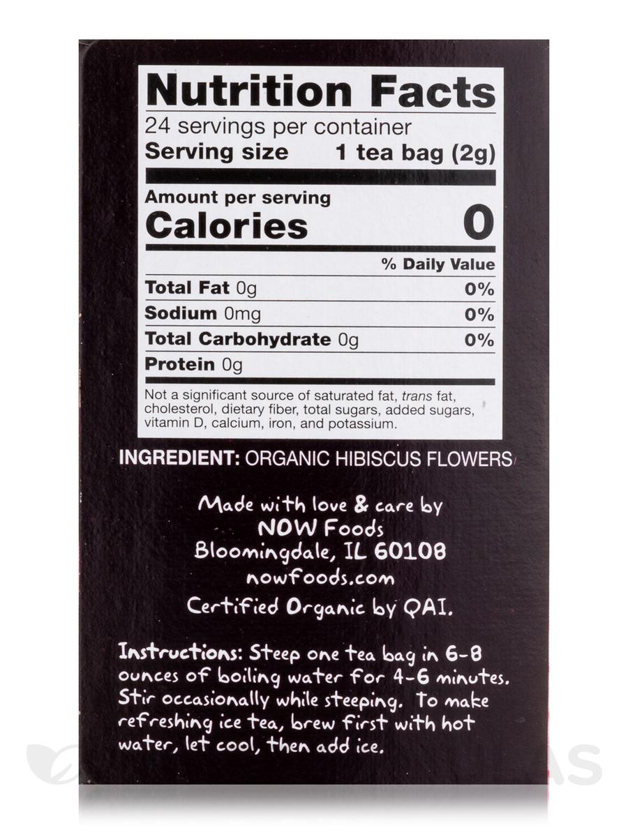 Now Real Tea Organic Hip Hibiscus Tea Bags Box Of 24 Packets