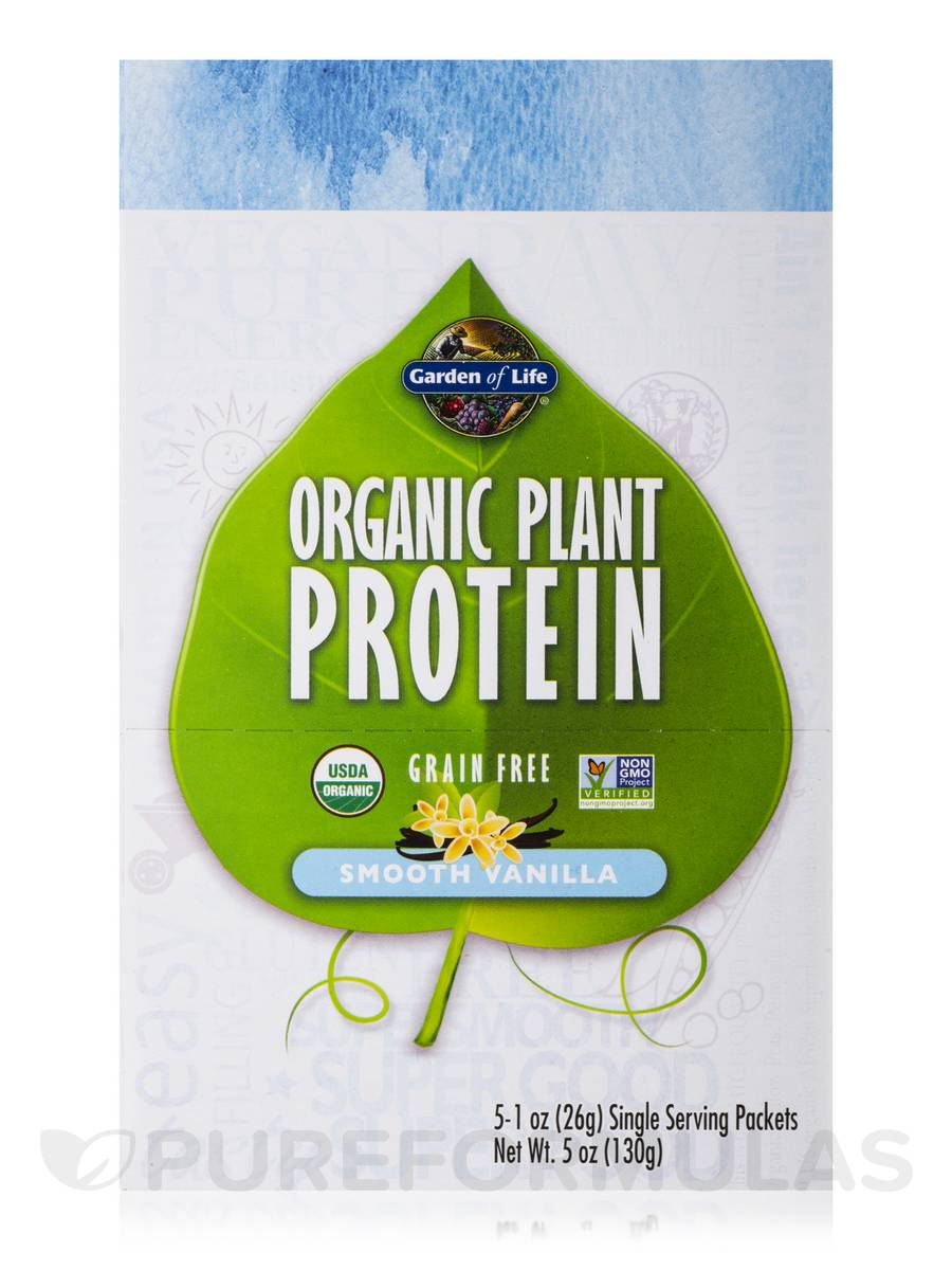 Organic Plant Protein Smooth Vanilla Box Of 5 Packets 1 Oz 26 Grams Each