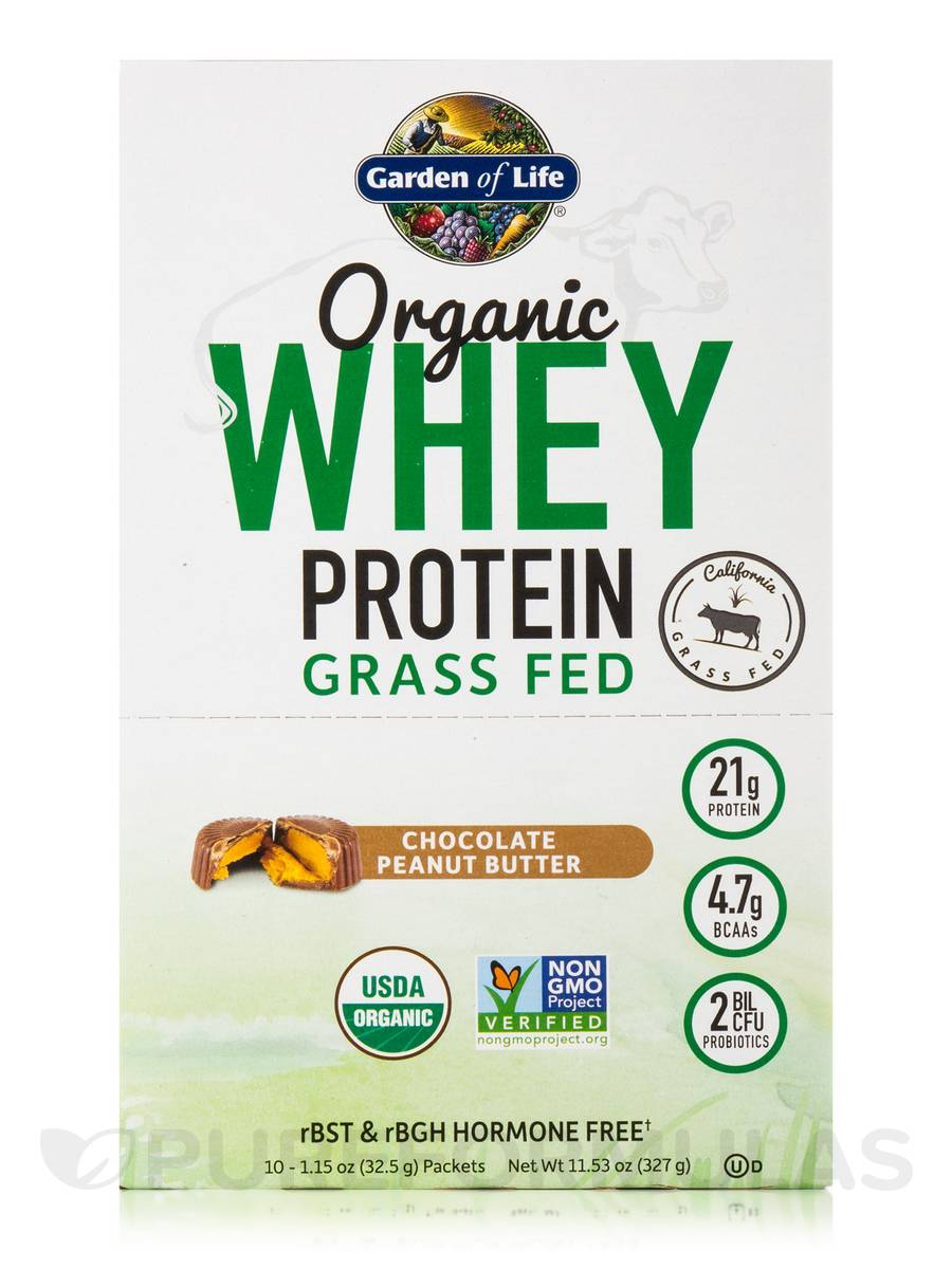Whey Protein Grass Fed, Chocolate Peanut Butter - Box of 10 Packets ...