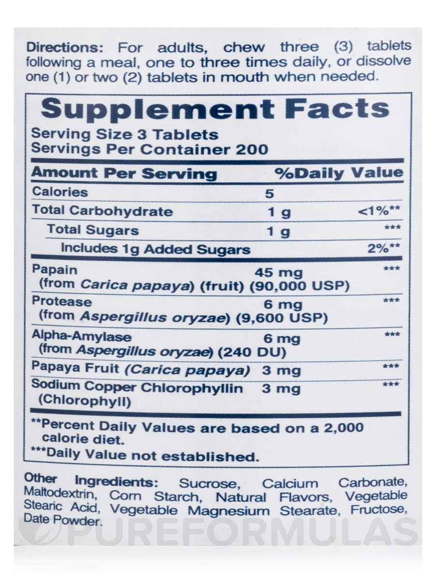 Papaya enzyme with chlorophyll 600 chewable tablets
