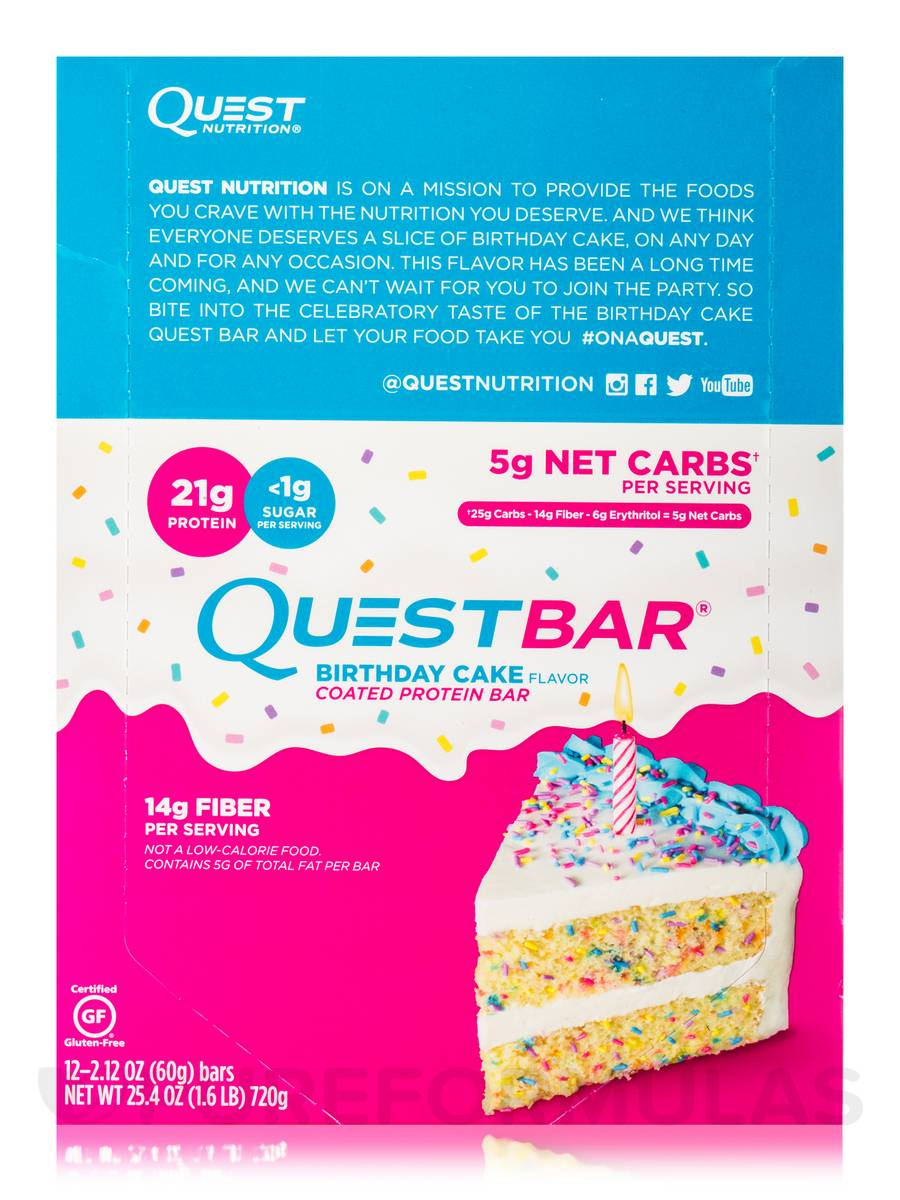 Quest Bar Birthday Cake Flavor Protein Box Of 12 Bars 212 Oz 60 Grams By Nutrition Extra1