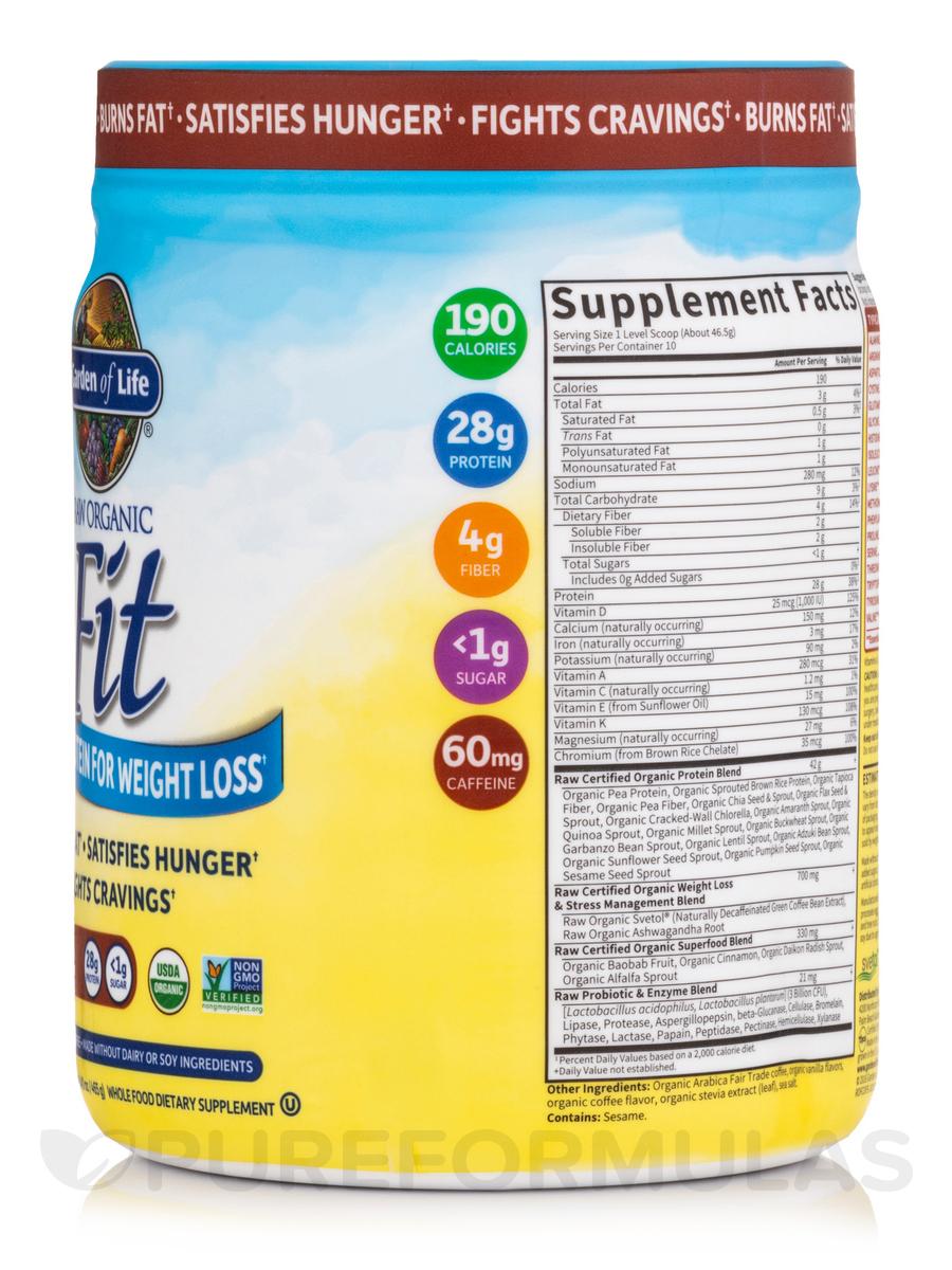 raw organic fit high protein powder coffee 16 oz 454 grams - Garden Of Life Raw Fit