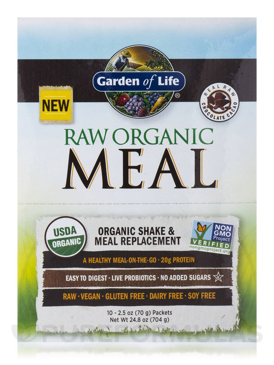 Raw meal chocolate cacao box of 10 packets - Garden of life raw organic meal chocolate ...