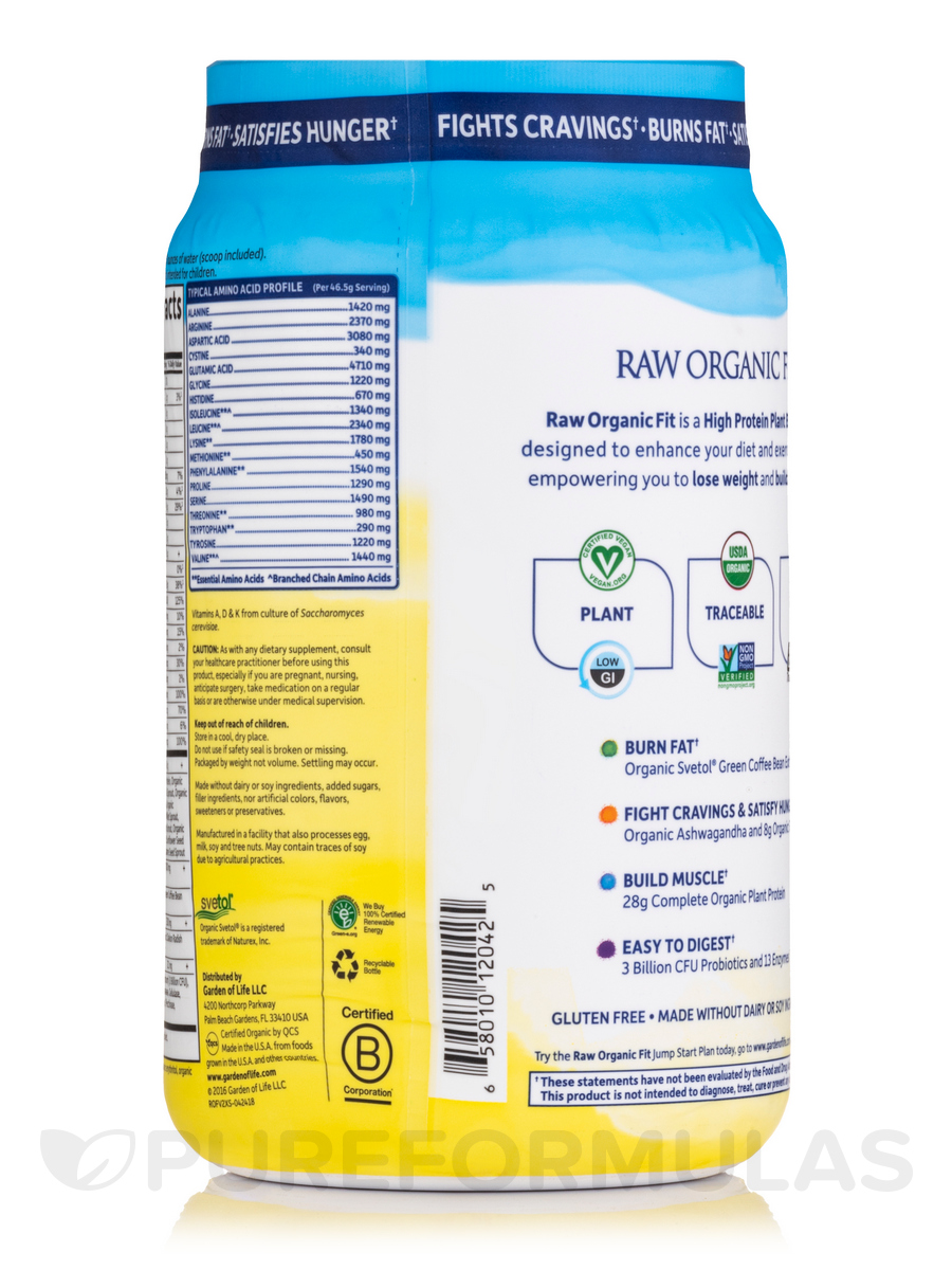 Raw Organic Fit High Protein Powder Vanilla 32 2 Oz 913 Grams