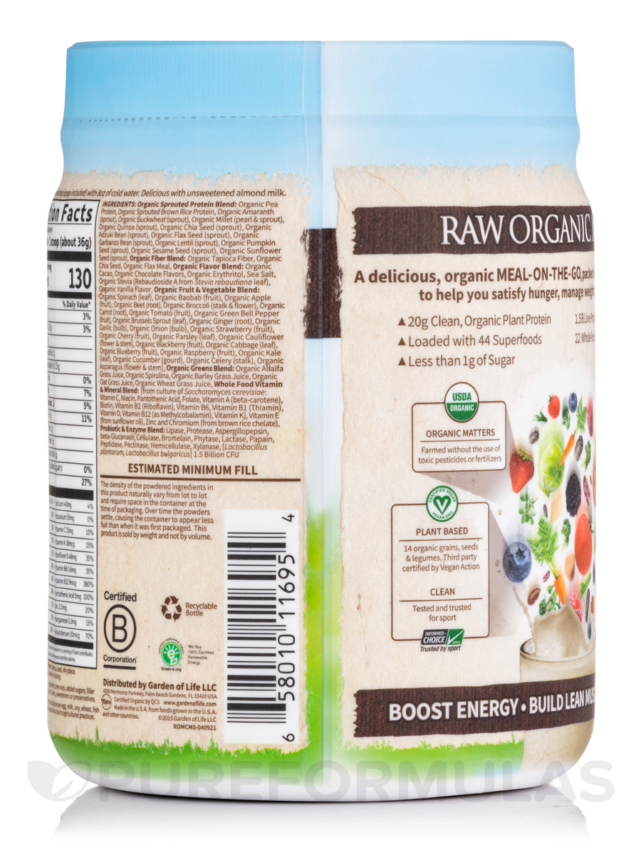 Raw Organic Meal Powder Chocolate Cacao Flavor 17 4 Oz 493 Grams