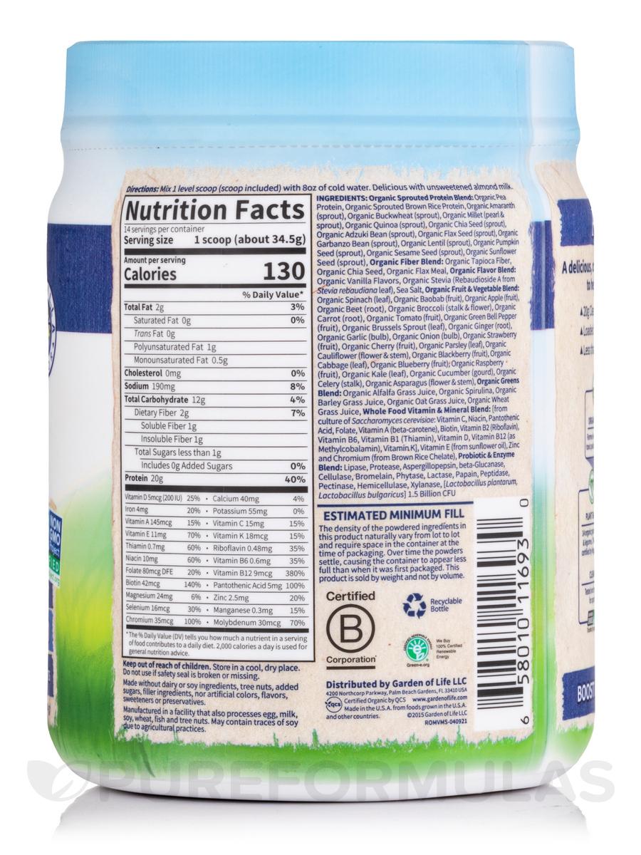 Raw Organic Meal Powder Vanilla Flavor 16 7 Oz 475 Grams
