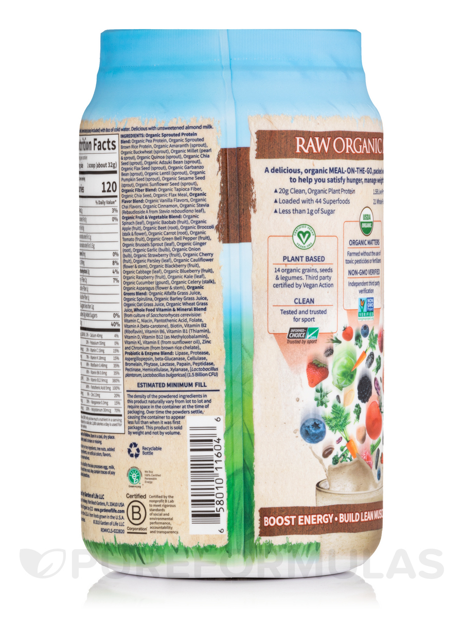 Raw Organic Meal Powder Vanilla Spiced Chai Flavor 32 1 Oz 909 Grams