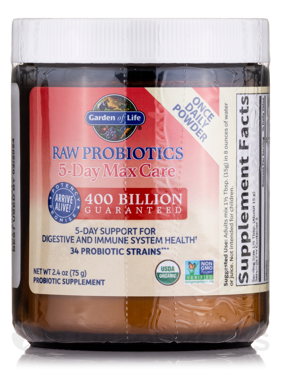 raw probiotics 5 day max care 24 oz 75 grams