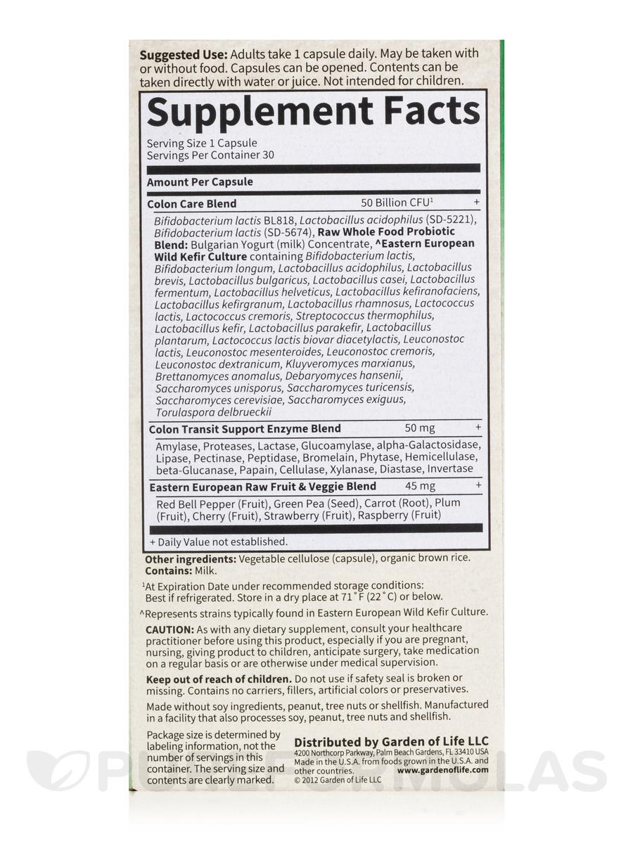 Raw Probiotics Colon Care 50 Billion 30 Vegetarian Capsules