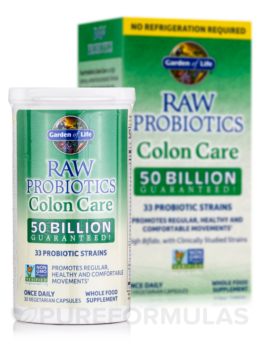 Raw Probiotics Colon Care 50 Billion Shelf Stable 30 Vegetarian Capsules