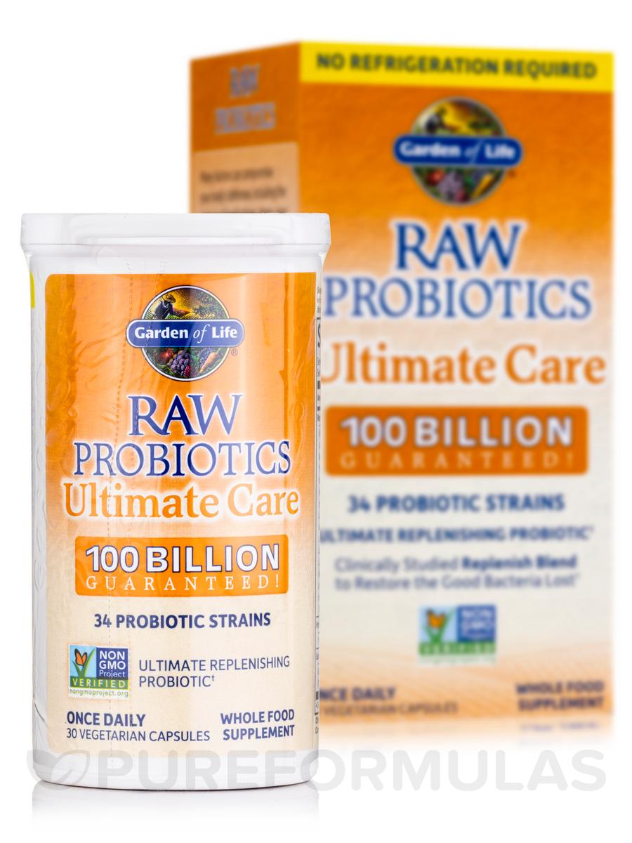 Raw probiotics ultimate care 100 billion shelf stable 30 vegetarian capsules for Garden of life raw probiotics ultimate care