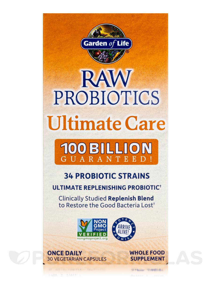 Raw probiotics ultimate care 100 billion 30 vegetarian capsules for Garden of life raw probiotics ultimate care