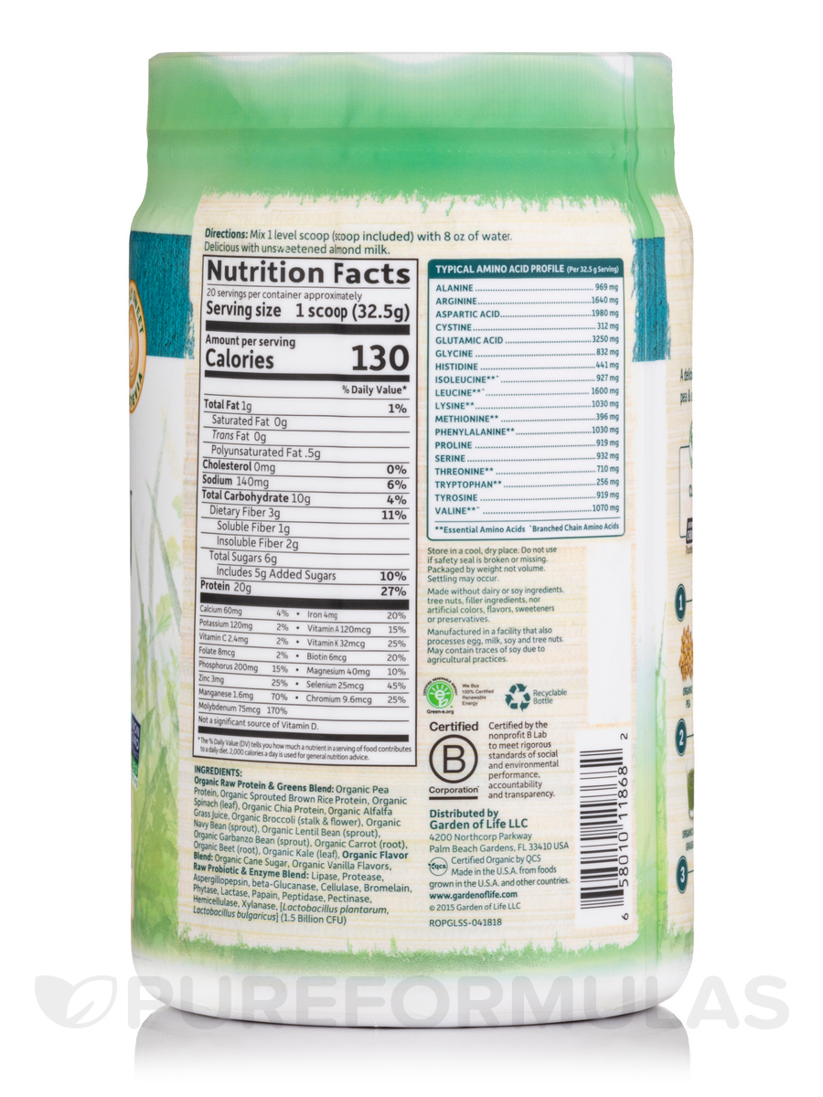 Raw Protein And Greens Lightly Sweet 23 Oz 651 Grams