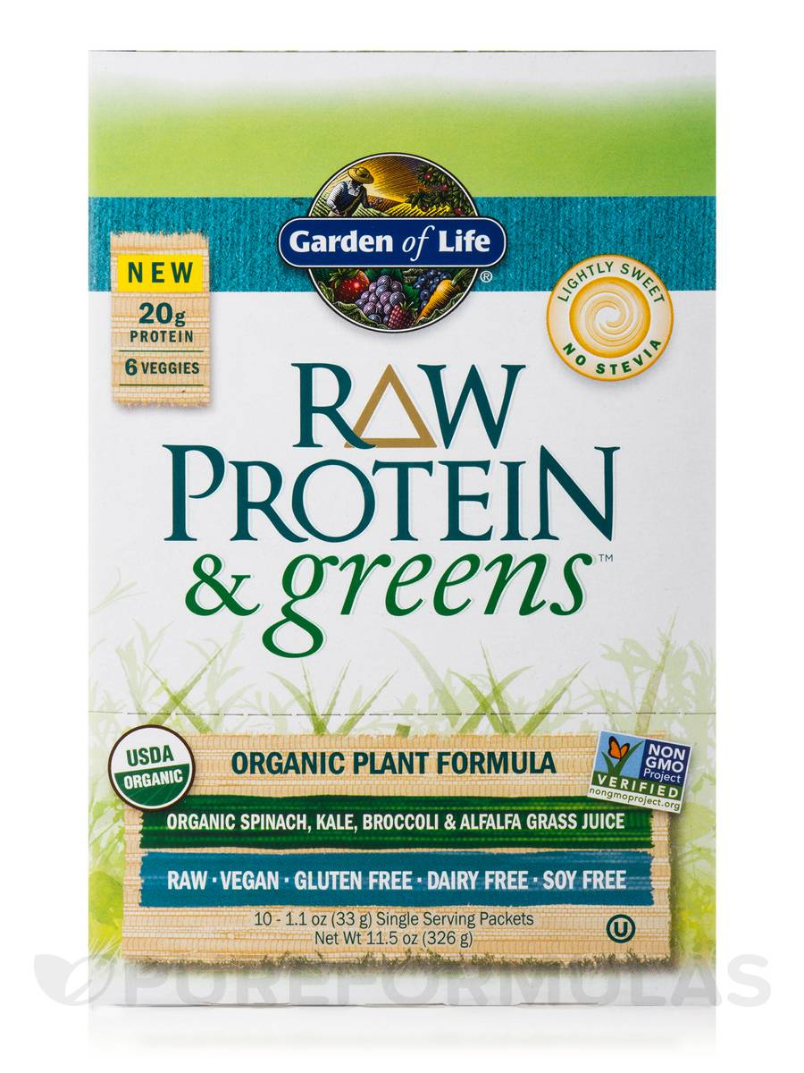 Raw Protein And Greens Lightly Sweet Tray 10 Packets 11 5 Oz 326 Grams