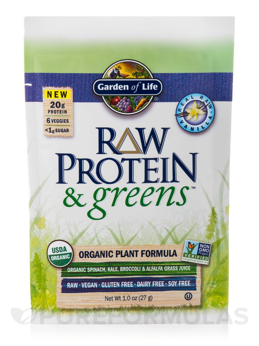 Raw Protein And Greens Vanilla Tray 10 Packets 9 7 Oz 274 Grams