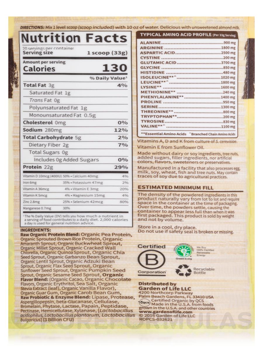 Organic Protein Powder, Chocolate Flavor - 23.4 oz (664 Grams)