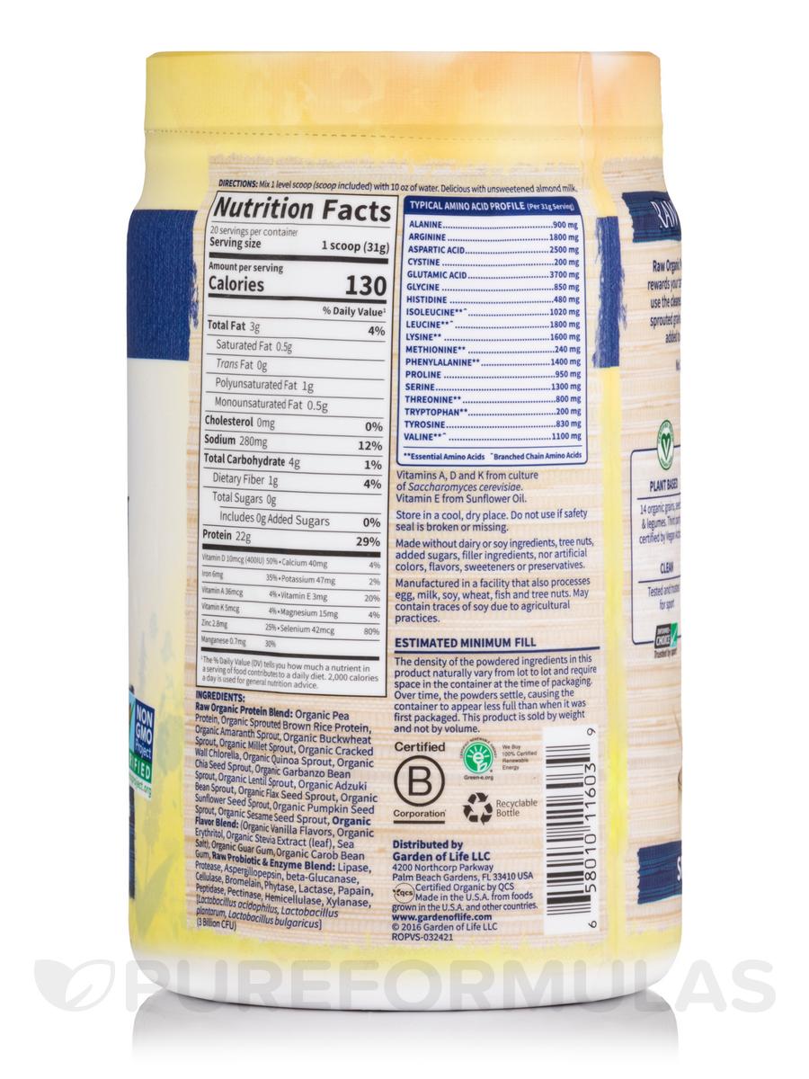 Raw Organic Protein Powder Vanilla Flavor 22 Oz 624 Grams
