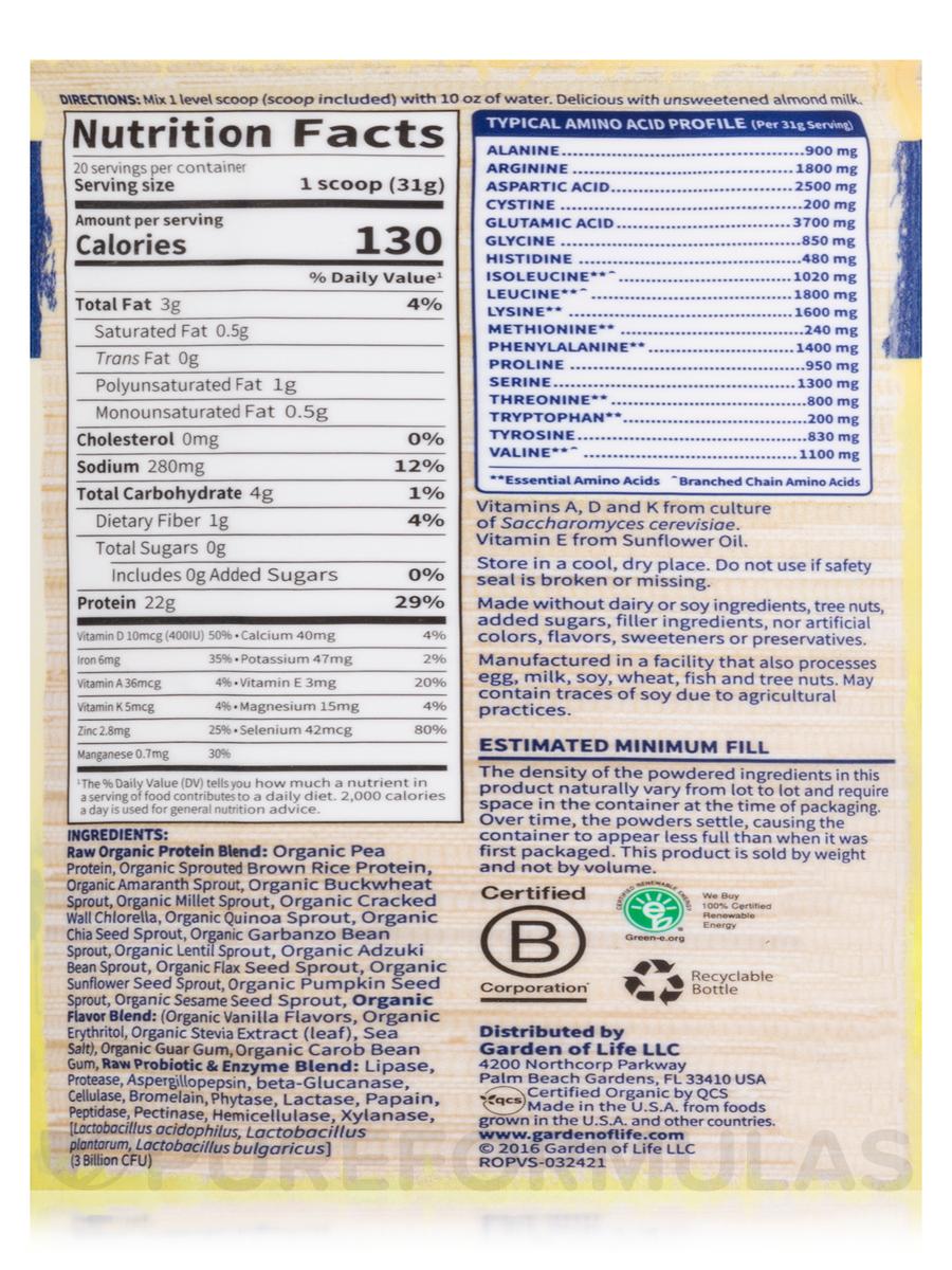 Raw Organic Protein Powder Vanilla Flavor 21 86 Oz 620 Grams