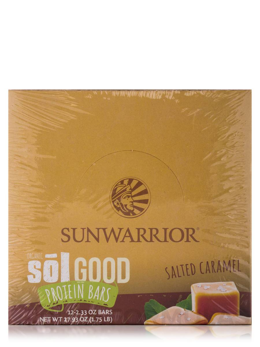 Sol Good Protein Bars, Salted Caramel - Box of 12 Bars (2 33 oz each)
