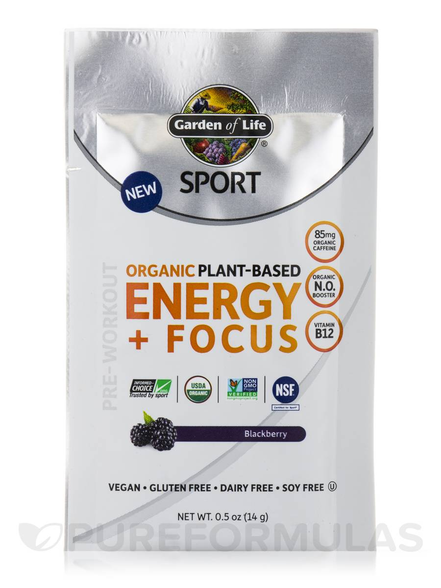Sport organic plant based energy focus blackberry box of 12 packets 0 5 oz 14 grams each for Garden of life energy and focus