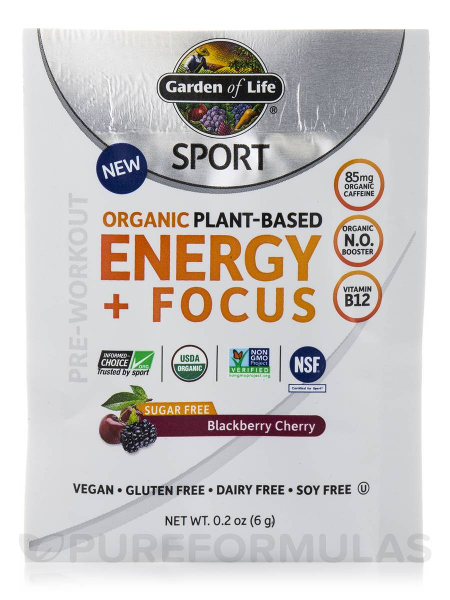 Sport organic plant based energy focus sugar free blackberry cherry box of 12 packets 0 2 for Garden of life energy and focus