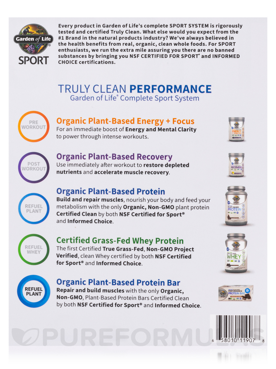 Sport Organic Plant Based Performance Protein Bar Chocolate Fudge Box Of 12 Bars 2 7 Oz 75