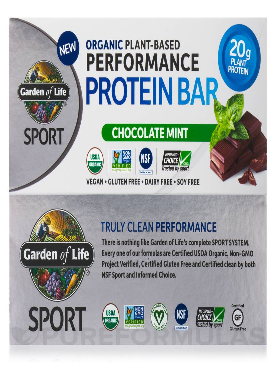 Sport Organic Plant Based Performance Protein Bar Chocolate Mint Box Of 12 Bars 2 5 Oz 70